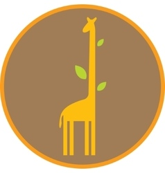 Funny giraffe with long neck and leaves vector image