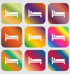Hotel icon Nine buttons with bright gradients for vector image vector image