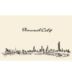 Kuwait skyline vintage drawn vector image vector image