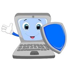 Laptop cartoon holding a shield vector
