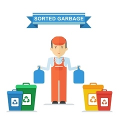 man sorts trash vector image