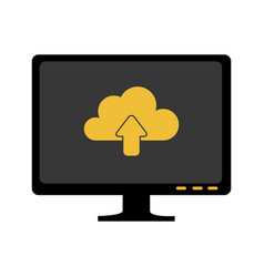 Monochrome screen with cloud upload service vector