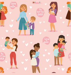Mother and children with flower bouquet mothers vector