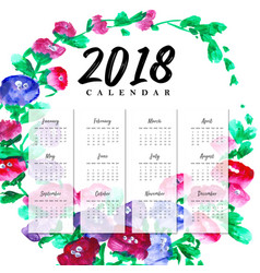 New year 2018 water color floral calender vector