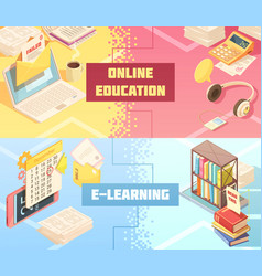 Online education horizontal isometric banners vector