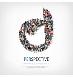 Perspective people sign 3d vector