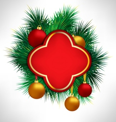 Red frame on pine branches with christmas balls vector