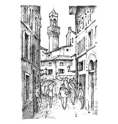 scene streets in european town florence in italy vector image