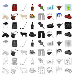 Scotland country set icons in cartoon style big vector