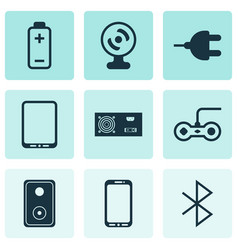 set of 9 computer hardware icons includes battery vector image