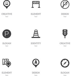 set of 9 editable location icons includes symbols vector image