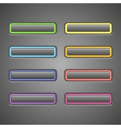 set of glowing web buttons vector image