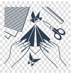 silhouette origami lessons vector image vector image