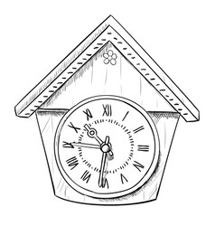 sketch of clock vector image
