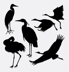 Stork heron egret and crane silhouette vector