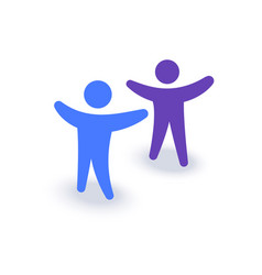 two people with hands up logo or icon family vector image vector image