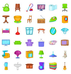 vacuum cleaner icons set cartoon style vector image vector image