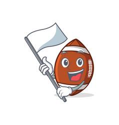With flag american football character cartoon vector