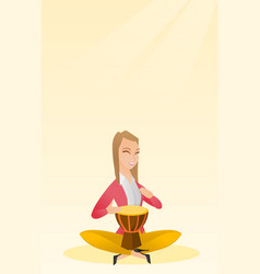 Woman playing the ethnic drum vector