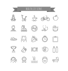 Sport and healthy life icons set vector
