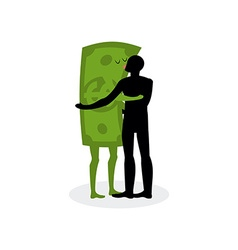 Kiss money man embraces dollar hot kiss on date vector