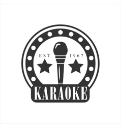 Microphone In Round Frame Karaoke Premium Quality vector image