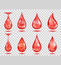 Transparent red drops vector