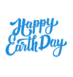 Happy earth day hand drawn lettering phrase vector