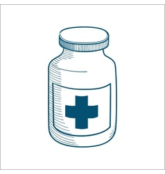 Bottle with medical cross sign isolated on white vector image