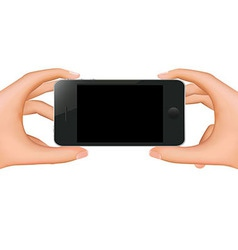 Hands holding phone vector