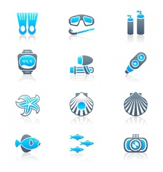Scuba diving icons  marine vector