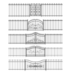 Gates and iron fence horizontal seamless vector