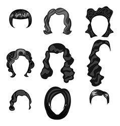 Different faces of women with hairstyles vector