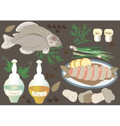 Fish with boiled potatoes and onions vector