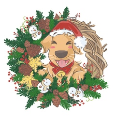 Golden retriever and christmas wreath vector