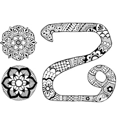 Letter z decorated in the style of mehndi vector