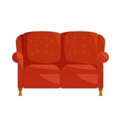 Brown sofa icon in cartoon style vector