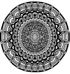 abstract mandala ornament for adult coloring books vector image