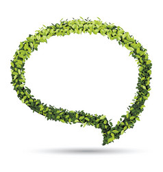 bubble for speech with green leaf vector image vector image