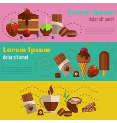 Chocolate coffee desserts and cakes retro vintage vector