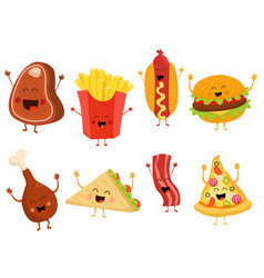 Cute fast food characters set vector