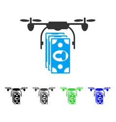 Drone banknotes payment flat icon vector
