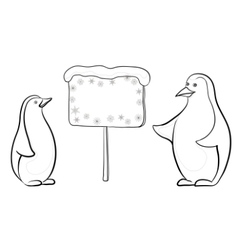 emperor penguins with sign vector image vector image