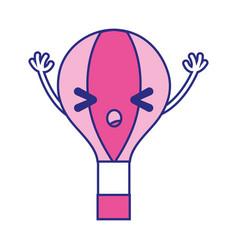 Full color angry air balloon kawaii with arms vector