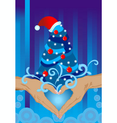 hands christmas card vector image vector image