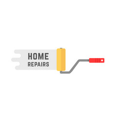 home repairs logo with roller vector image vector image