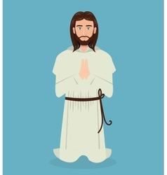 Jesus christ prayer kneeling design vector
