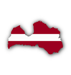 Map and flag of latvia vector