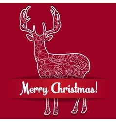 Merry Christmas card on paper with deer vector image vector image