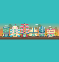 Old city retro miami skyline panorama at sunset vector